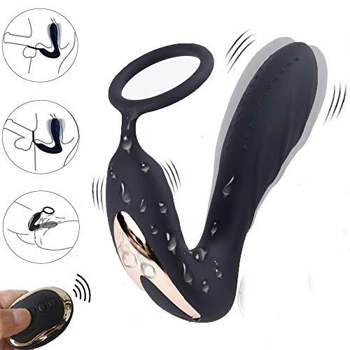 Prostata Massagegerät Vibratoren mit Penis Ring,Treediride Fernbedienung Anal Plug mit Dual Motors 10 Mächtig Vibrationsmodi Prostate Stimulator für Männer Frauen und Paare