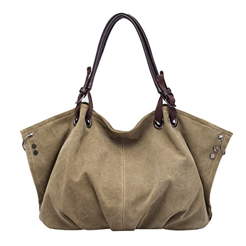 Butterme Sacchetto di spalla di tela di canapa grande borsa casuale di fine settimana di acquisto del sacchetto di Hobo della borsa di modo della borsa di modo Dark Khaki
