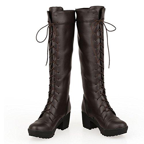 Femmes brown Hiver Epais Schuhe Grand TAOFFEN Talons Western Lacets Bottes dqRdAU
