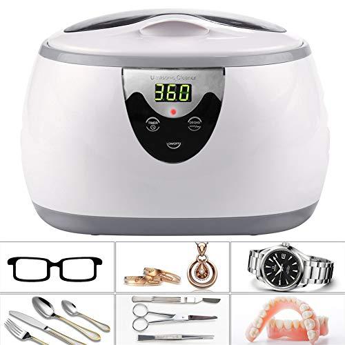Yrainy Ultraschallreiniger, 600ml Schmuckreiniger mit Reinigungstank und digitaler Zeitschaltuhr für Schmuck, Brillen, Uhren, Ringe, Münzen und Zahnersatz
