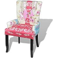 Preisvergleich für vidaXL Französischer Stuhl mit Patchwork-Design Stoff Bunt