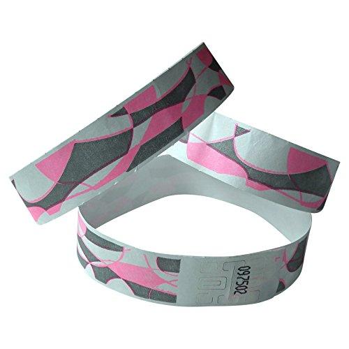 100 nastri di controllo in Tyvek, 19 mm di larghezza x 255 mm di lunghezza, con stampa abstract, colore rosa/grigio
