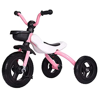Jiamuxiangsi Children's Tricycle Bicycle 2-4-6 Years Old Baby Toy Car Men And Women Baby Tricycle Foldable Easy To Carry Rides Taxi Dual-purpose Car Titanium Empty Wheel Bicycle Baby (Color : Pink)