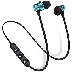 Runfon Auriculares Bluetooth Magnéticos Impermeables In-Ear Bluetooth Auriculares Inalámbricos Auriculares Música Auriculares para Deporte Color Negro Azul