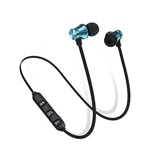 Runfon Magnetische Bluetooth-Kopfhörer, wasserdicht, In-Ear-Bluetooth-Ohrhörer, kabellos, für Sport, Schwarz/Blau