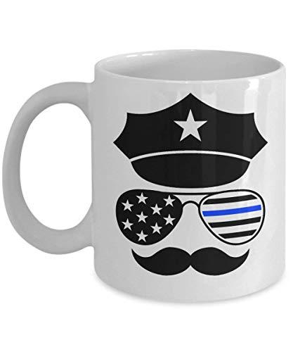 ChGuangm Police Face Mustache 11oz White Coffee Mug