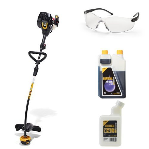 McCulloch TrimMac Grass Trimmer with UNIVERSAL Scratch Resistant Plastic Protective Glasses, Universal Low Smoke 2 Stroke Oil  and Universal Mixing Bottle