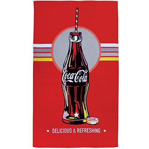 CTI Drap DE Plage 70X120 Coca-COLA Bottle, 100% Coton 320GR/M2, Roug