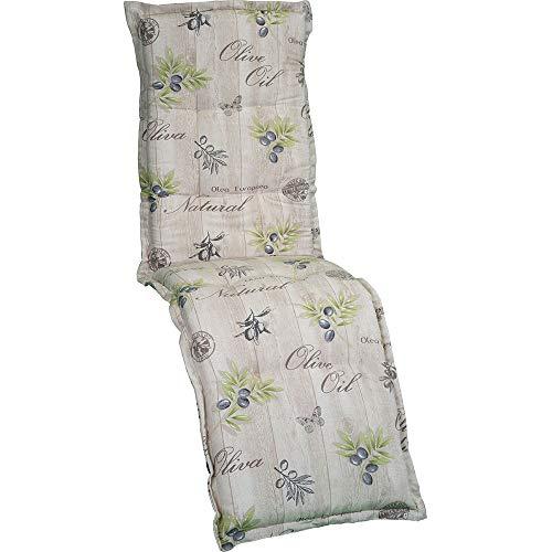 nxtbuy Auflage für Relaxliegen Nizza 170x52x8cm - Liegenauflage mit Komfortschaumkern und Bezug - Sitzpolster für Gartenliegen, Dessin:Olives Beige