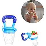 Safe-O-Kid- Pack of 1- High Quality; BPA Free; Veggie Feed Nibbler; Fruit Nibbler/Silicone Food; Soft Pacifier/Feeder for Baby (M Size for 6-9 Months Babies)- Blue