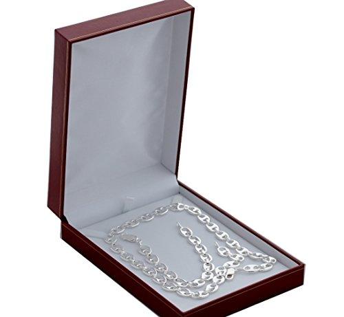 Cinturino e Set catena a chicco di caffè, per uomo, in argento massiccio 925 punzonatura, per offrire con cofanetto