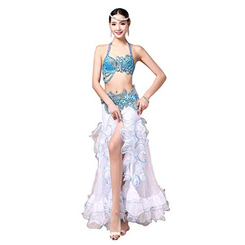 Womens Brothers Kostüm Blues - Z&X Lady Belly Dance Performance Bekleidungs Anzug, BH Rock Offene Gabel-Set,Blue,S