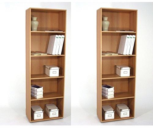 2er - Set Angebot Regal Büroregal Office Buche Dekor B/H/T ca. 60 x 182 x 29,5