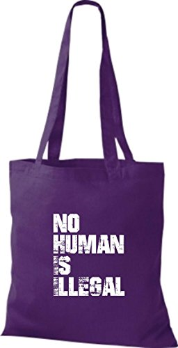 Shirtstown Stoffbeutell no Human is illegal, Flüchtlinge, Bleiberecht viele Farben Lila