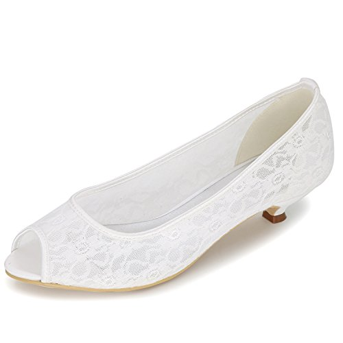 Elobaby Frau Hochzeitsschuhe Satin Low Heels Stitching Kleid Abend High Heels Frühling Spitzen Blumen (3,5 cm Absatz) Low Heel Satin-heels