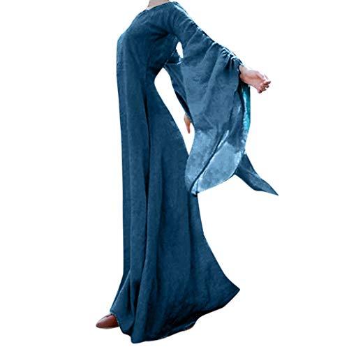 Plus Größe Frauen Renaissance Kostüm - Plus Größe Frauen Herbst Winter Mittelalterlichen Gothic Retro Solide Langarm Ballkleider Maxi Kleid Cosplay Karneval Party Weiblichen Anzug