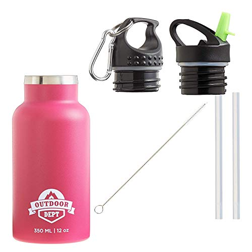 OUTDOOR DEPT Trinkflasche Kinder Isoliert Edelstahl 350 ML BPA Frei - Thermo Edelstahlflasche Kinderflasche mit Strohhalm. Für Kohlensäure geeignet. 2 Deckel mit Karabiner und Bürste zum Reinigen