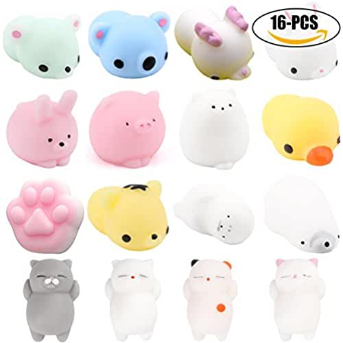 juguetes kawaii Mochi Squishy Toys, Fansport 16Pcs Squishy Animal Toys Mochi Squishy Cat Silicone Mini Soft Squishy Toys Squishy Stress Kawaii Apretón Juguetes Stress Relief Toys