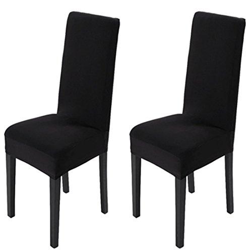 MAIKEHOME Esszimmerstuhl-Bezüge, unifarbene gefärbte Stretch-Schonbezüge für Stühle aus Elasthan, für Hotel, Küche, Restaurant, Hochzeiten, Party, Dekoration Schwarz