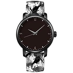 iCreat Damen Uhr Armbanduhr Uhren Quartz Einzigartige Design China schwarz und weiß graue Tinte Retro-Mode Schwarzes Zifferblatt schwarz Fall
