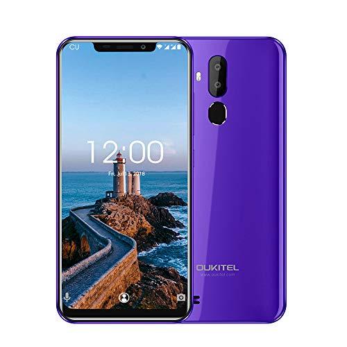 OUKITEL C12 Pro 4G Cellulari e Smartphone,6.18 Pollici (rapporto 19: 9), Dual SIM con Android 8.1, 3300 mAh Batteria, MTK6739 a 1,5 GHz,Quad Core 2GB RAM 16GB ROM, Fingerprint Face ID-porpora