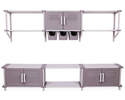 Modulares Regalsystem Freedom Wandregal Schwerlastregale mit Türen und Aufbewahrungsboxen