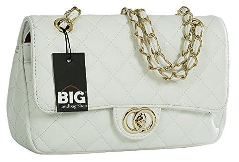 Big Handbag Shop Womens Quilted Twist Lock Shoulder Bag (White - Round Clasp (Design 2))