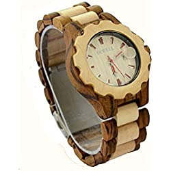 Niceshop Damen Zabra verstellbar Armbanduhren Datum Holz Armbanduhr verstellbar Holz Band Geschenk geben