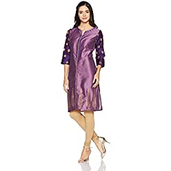Myx Women's Festive Straight Kurta (AW17MGFST13A_Wine_Medium)