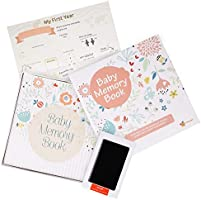ehayas First 5 Years Baby Memory Book Journal with Wall Poster and Baby-safe Ink Pad - A Baby Record Book Photo Album...