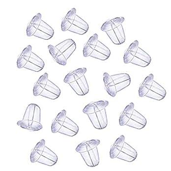 10 Stück Silikon Ohrstopper Kegel transparent