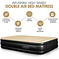 LIVIVO Luxury Flocked Air Bed Mattress – Portable Inflatable Double Airbed with Built-In Electric Pump, Elevated, Raised & Structured Air Coil Technology (Double)