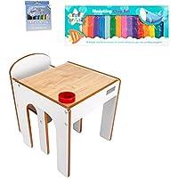 Preisvergleich für Little Helper Funstation Kleinkind Tisch und Stuhl Set in Ahorn / Weiß mit Modellierung Clay & Magic Wipe Buntstifte