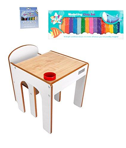 Little Helper Funstation Kleinkind Tisch und Stuhl Set in Ahorn / Weiß mit Modellierung Clay & Magic Wipe Buntstifte