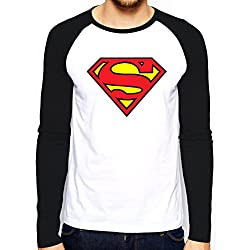 Superman Logo, Camiseta de Manga Larga para Hombre, Blanco, X-Large