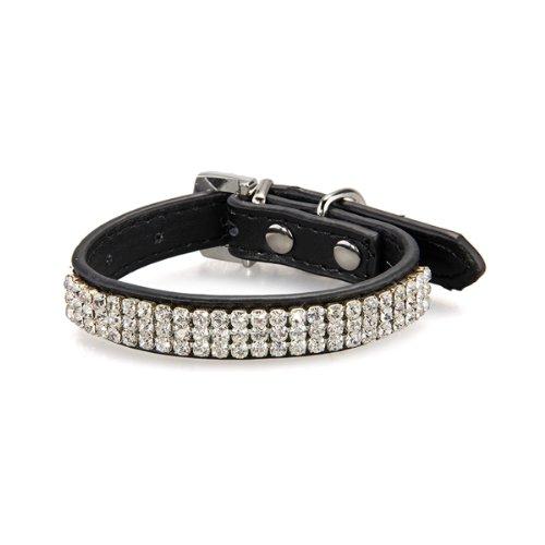 Hunde Halsband Halsbänder Strasshalsband Hundehalsband Leder Schwarz Größe XS