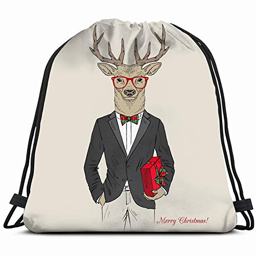 merry christmas deer dressed tuxedo gift animals wildlife beauty fashion Drawstring Backpack Gym Sack Lightweight Bag Water Resistant Gym Backpack for Women&Men for Sports,Travelling,Hiking,Camping,Sh Holiday Plaid Bow Tie