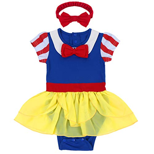 FYMNSI Neugeborenes Baby Mädchen Schneewittchen Kostüm Kleid Kleinkinder Snow White Fasching Karneval Cosplay Halloween Weihnachten Party Verkleidung Kurzarm Body Kleid mit Stirnband 2tlg Set 12-18M
