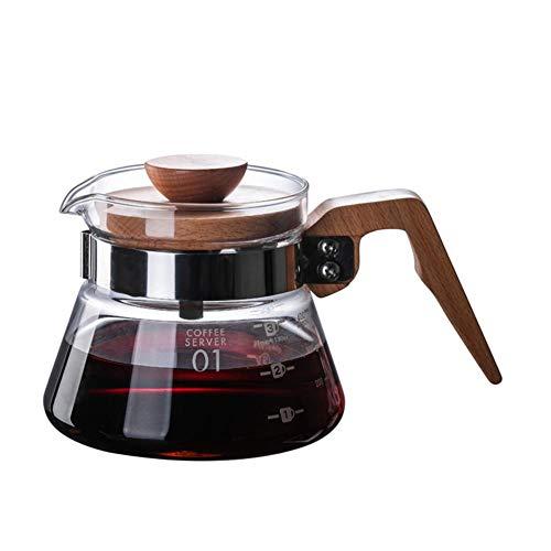 Sommer's Laden Borosilikatglas Pour Over Kaffeekanne, Hitzebeständige Kaffeekanne Der Hohen Temperatur Und Hölzerner Hochtemperatur Griff, Pour Over Kaffee Maker Für Haus