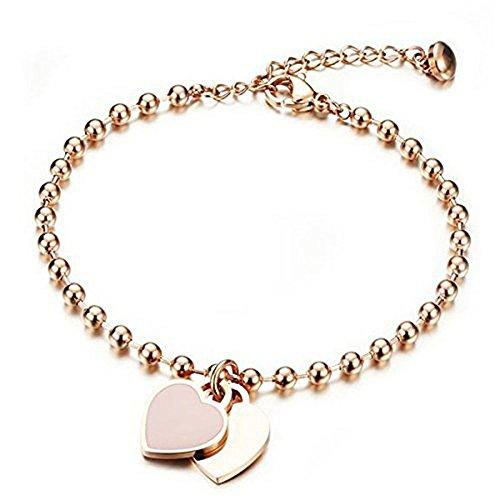 Cara Z London, braccialetto con doppio ciondolo a forma di cuore in oro e rosa