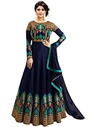 Fast Fashions Women's Embroidered Phantom Slik Semi Stitched Anarkali Gown (Pink and Green_Free Size)