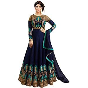 Fast Fashions Women's Embroidered Phantom Slik Semi Stitched Anarkali Gown (Free Size)
