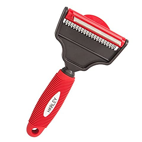 Deshedding Tool & Dog Brush Grooming 2 in 1 Dual Rake for Pets Red - Cat's, Dog's and Horses - Short or Long haired Pets - 3 YEAR WARRANTY
