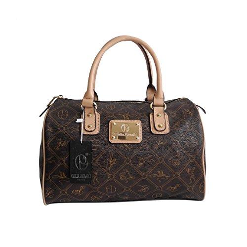 Giulia Pieralli - Damen Glamour Handtasche Damentasche Tasche Henkeltasche Bowling Tasche Umhängetasche - präsentiert von ZMOKA® in versch. Farben (Kaffee Beige)