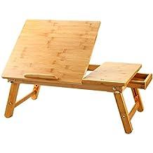 Mesa de Cama para Portátil Nnewvante Mesa Plegable Desayuno Cama, Adjustable  Escritorio Ordenador Portatil Bambú 55*35cm