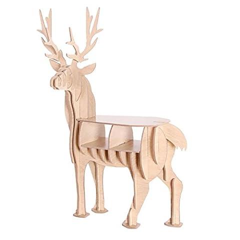 Homyl 3D Hirsch Blumenständer Blumenregal Dekorative Holz Mehrzweck Regal für Büro Wohnzimmer Balkon, Kreative Weihnachten Deko -