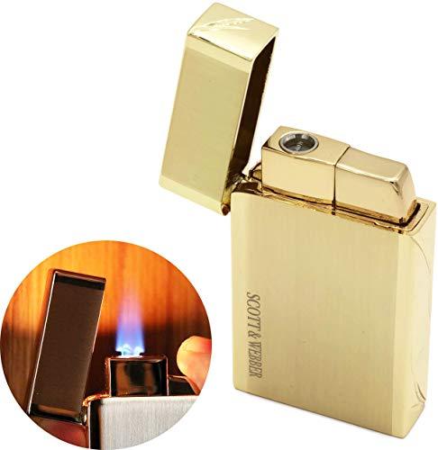 Scott & Webber - Feuerzeug Gas Sturmfeuerzeug Gold 100{73d74aea37f20002605b82992af6a3ef5f53aaf09be771ad6227fa177732bd75} Metall mit windfester Jetflamme/Pfeife, Zigarette, Zigarre/Gasfeuerzeug/Nachfüllbar, Einstellbar/bis 1300°C #SMART #Easy #ELEGANT