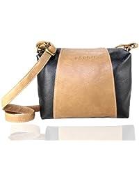 Fargo Motley PU Leather Women's & Girl's Cross Body Side Sling Bag (Beige,Black_FGO-074)