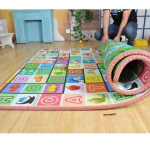 MJ TRADERS Kids Waterproof Alphabets and Fruits Learning Educational Play Mat (120x180cm, Green)
