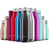 Proworks Bottiglia Acqua in Acciaio Inox, Senza BPA Vuoto Isolato Borraccia Termica in Metallo per Bevande Calde per 12 Ore & Fredde 24 Ore, Borraccia per Sport, Lavoro e Palestra - 1000ml - Nero